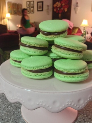Chocolate Mint ganache macarons