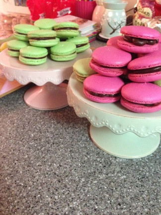 Raspberry, and Chocolate Mint Macarons